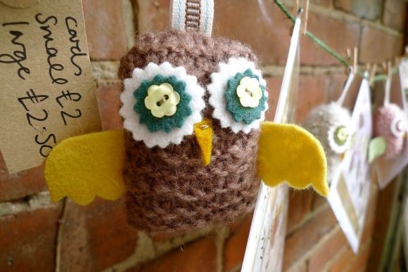 Knitted owl by Helen Rhodes