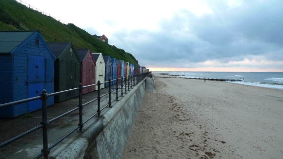 Beach huts along Mundesley Beach