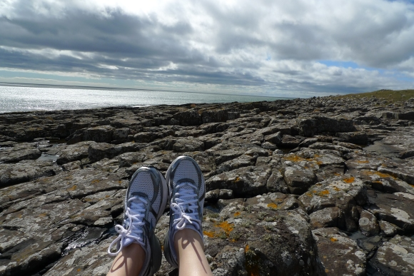 B jogging in Craster, Northumberland