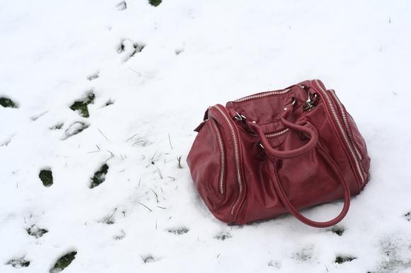 Red shoulder bag on snow