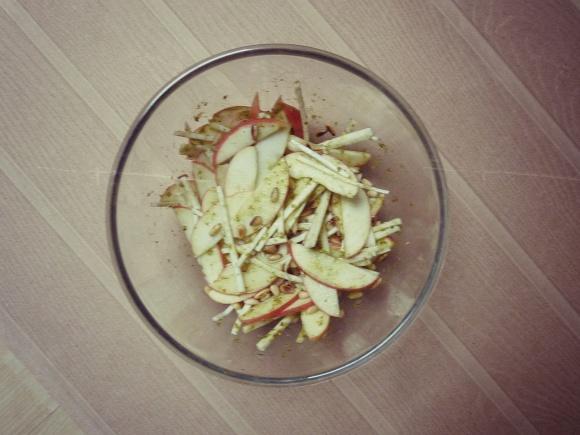 apple, celeriac, pine nut and pesto salad