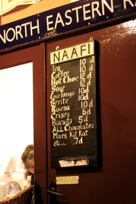 Cafe menu, NAAFI Cafe, Great Central Railway