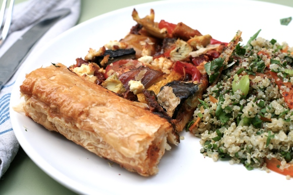 Vegetable tart and quinoa