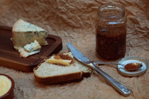 fig jam, stilton and sourdough