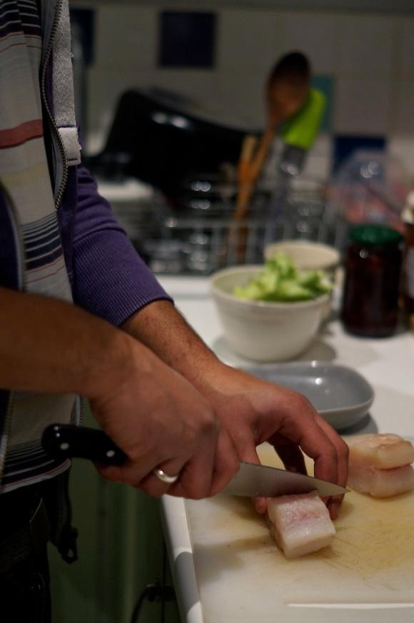 C prepares dinner