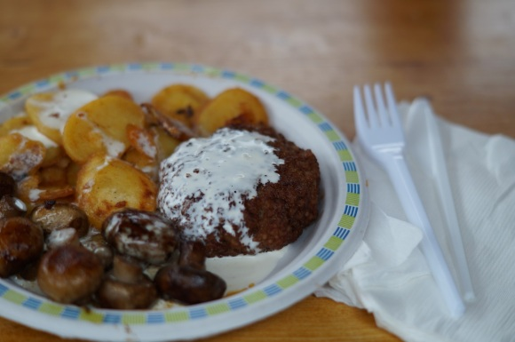 garlic mushrooms and saute potato