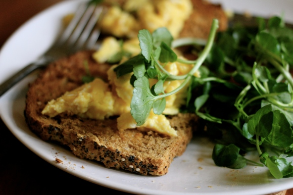 Scrambled egg, salmon and watercress