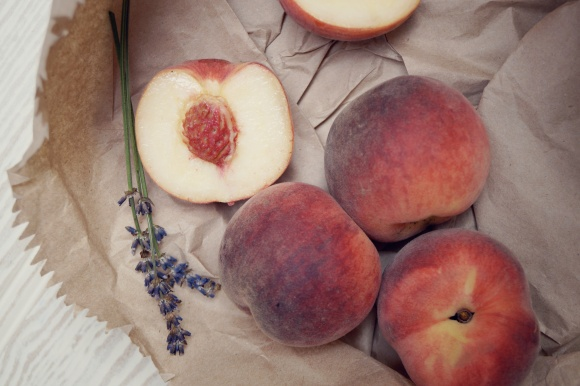 white peaches and lavender