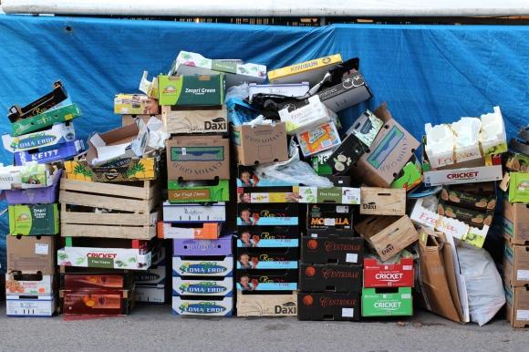Boxes at market
