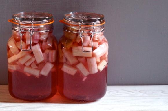 perfectly pink rhubarb booze